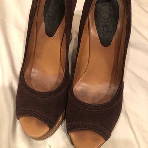Brown suede Michael Kors wedge heels shoes size 8